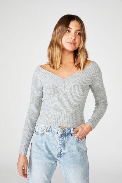 Cassandra V Neck Off Shoulder Knit, GREY MARLE