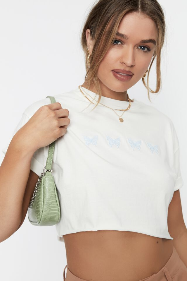 Tamara Printed Crop T Shirt, WINTER WHITE/90S BUTTERFLY