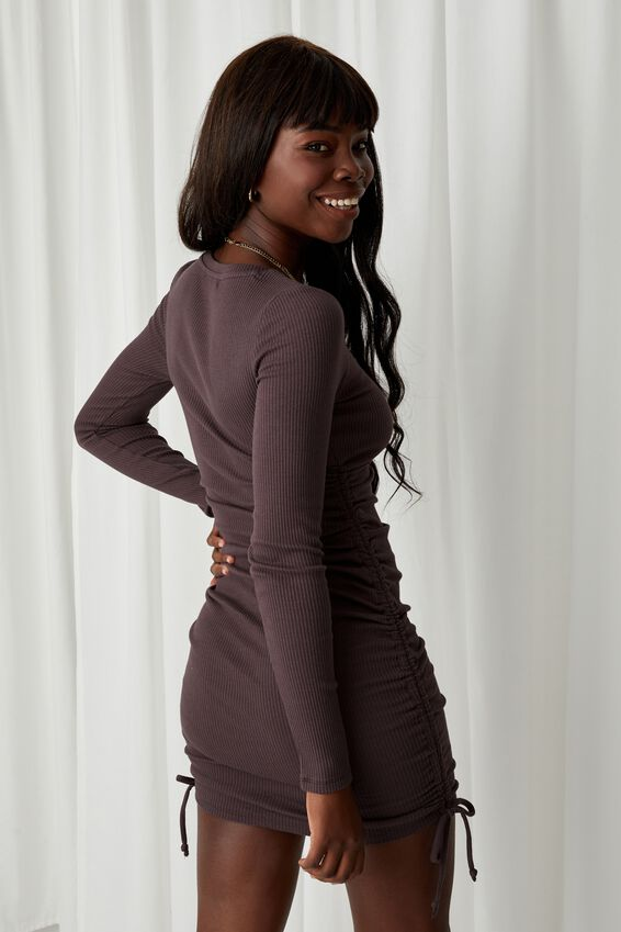 Frida Long Sleeve Mini Dress, CREAMY MOCHA