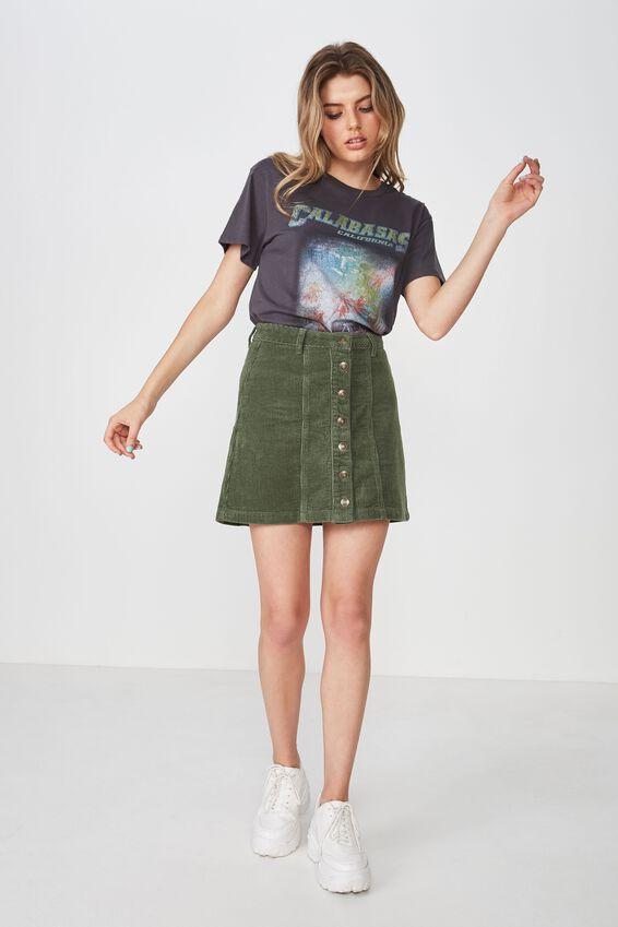 The Olsen Cord Skirt, MOSS KHAKI