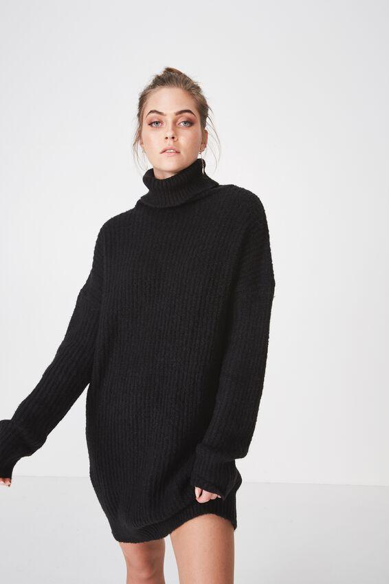 Crystal Long Sleeve Knit Dress, BLACK