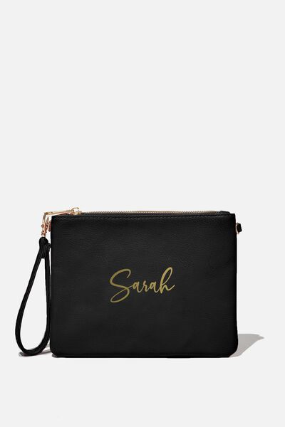 Personalised Sofia Zip Pouch, BLACK PEBBLE
