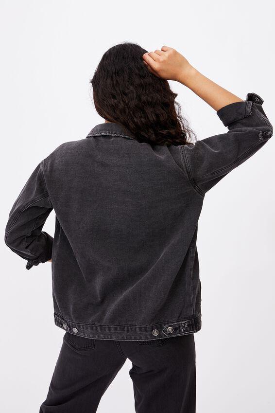 Oversized Denim Jacket, WASHED BLACK