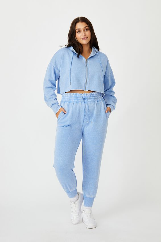 Paper Bag Waist Trackpant, WASHED BRIGHT BLUE