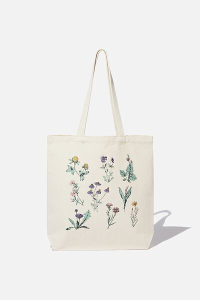 Canvas Tote, NATURAL/FLOWERS
