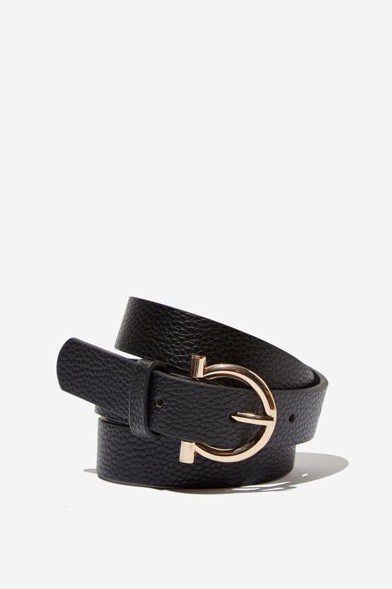 Lola Skinny Belt, BLACK/GOLD