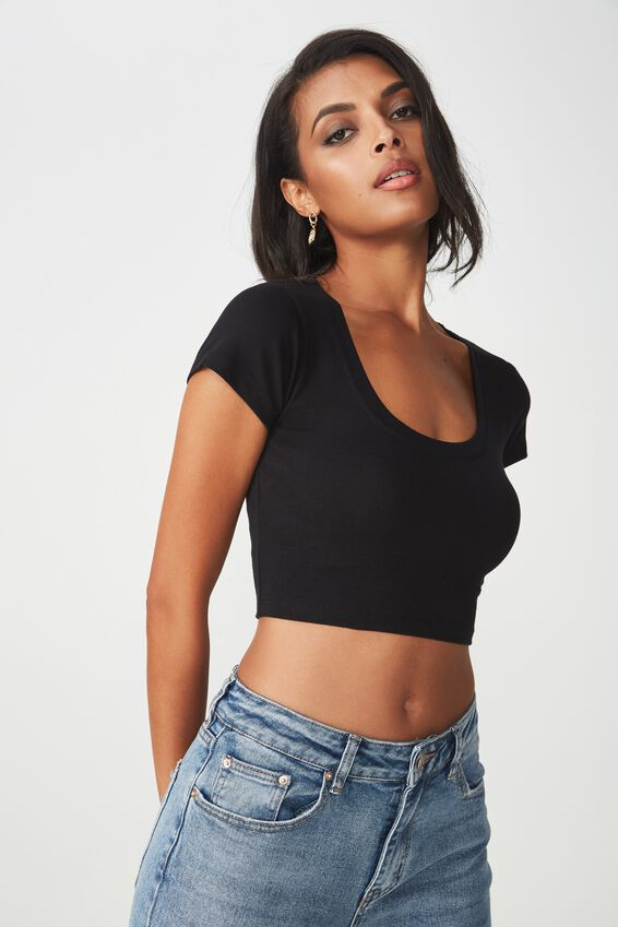 Fitted Scoop Neck Tee, BLACK