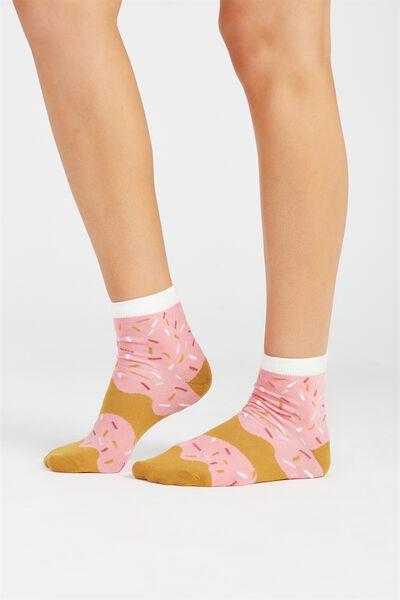 Novelty Doughnut Socks, PINK