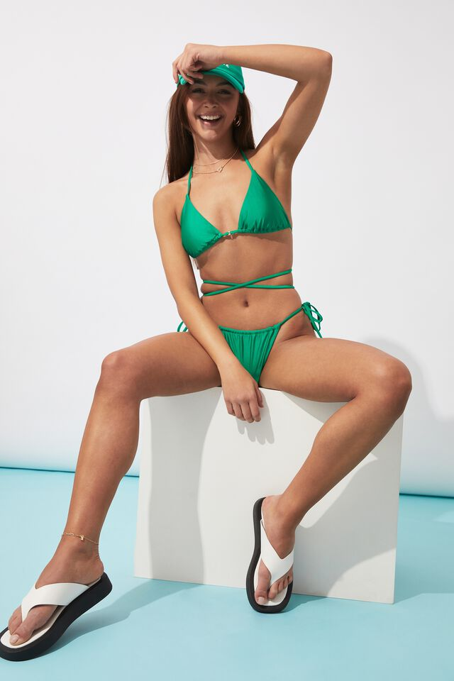 Sammy Tri Slide Bikini Top, EMERALD