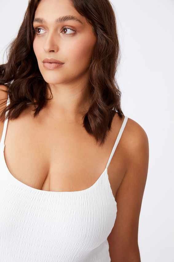 Waikki Strappy One Piece, WHITE/ SHIRRED