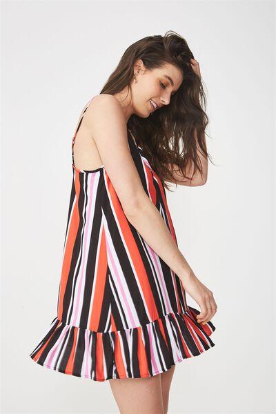 Relaxed Frill Hem Dress, BOLD STRIPE TANGERINE