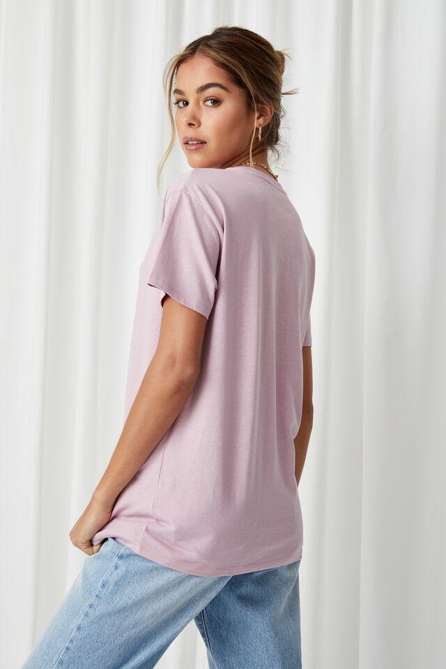 Lola Printed Longline T Shirt, FROSTY MAUVE/SAN FRANCISCO