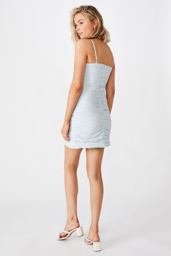 Abby Ruched Dress, PATRICIA FLORAL PALE BLUE