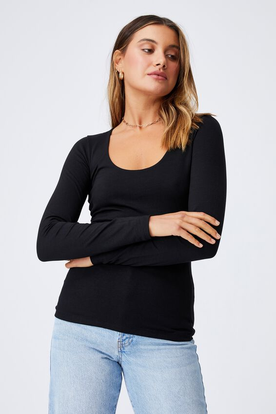 Helena Scoop Neck Long Sleeve Top, BLACK