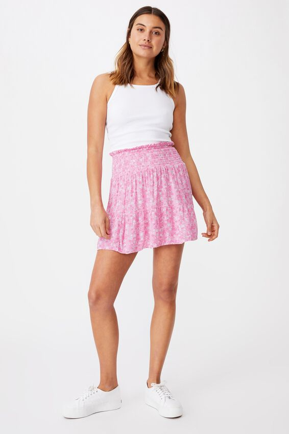 Ariana Shirred Waist Mini Skirt, GRACE FLORAL TAFFY PINK