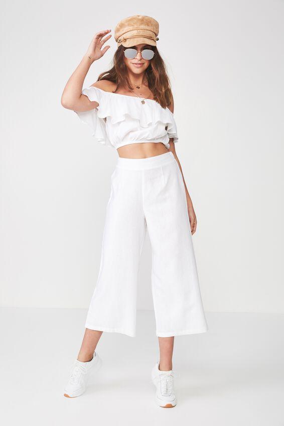 Crop Wide Leg Linen Blend Pant, WHITE