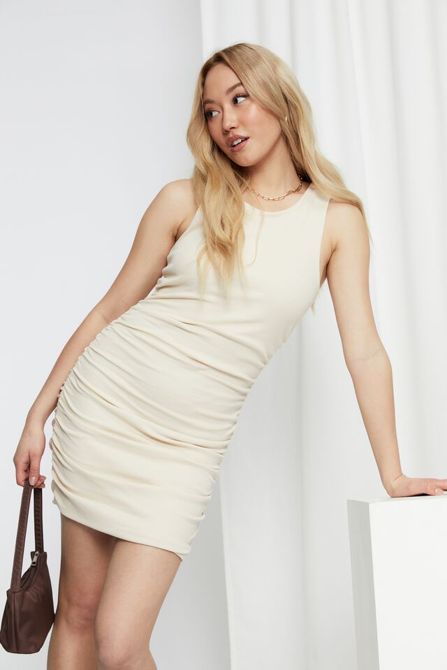 Tina Ruched Mini Dress, SUMMER SAND