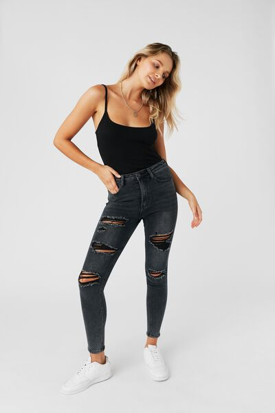 Long Leg Skinny Premium High Rise Ripped Jean, MIDNIGHT BLACK