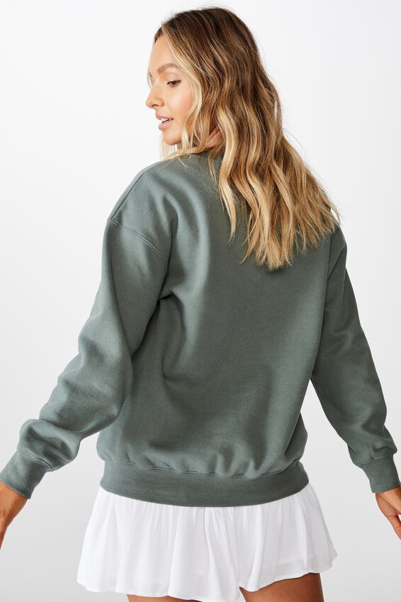 Oversized Crew Neck Jumper, CAMPER GREEN/BRIDGEPORT