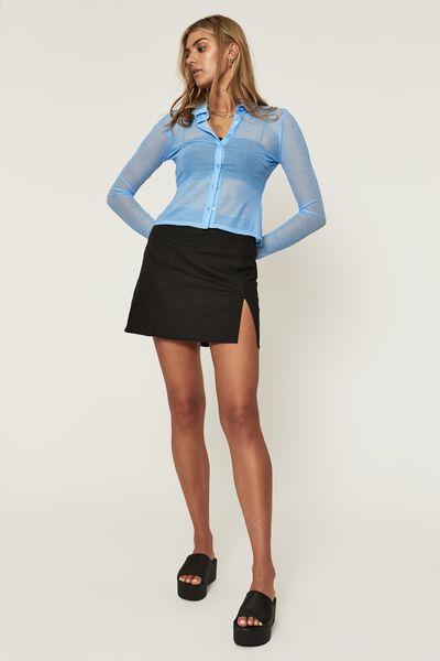 Harlow Woven Mini Skirt, BLACK
