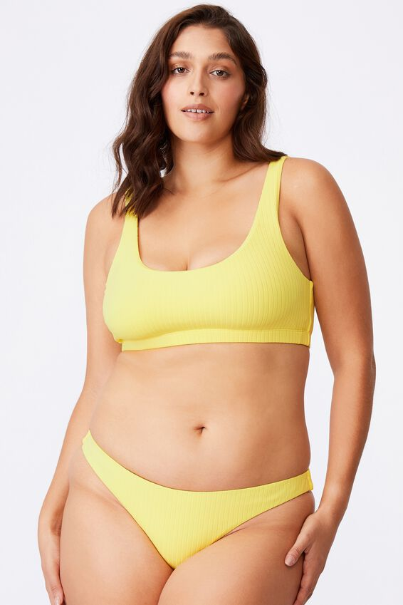 Outer Banks Scoop Neck Bikini Top, BUTTERCUP YELLOW/WIDE RIB