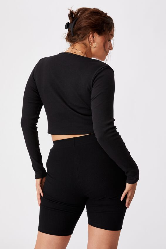 Long Sleeve Notch Front Top, BLACK