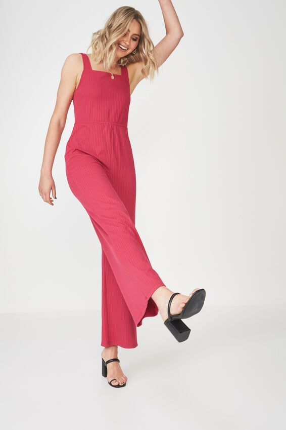 Square Neck Rib Jumpsuit, SUMMER BERRY