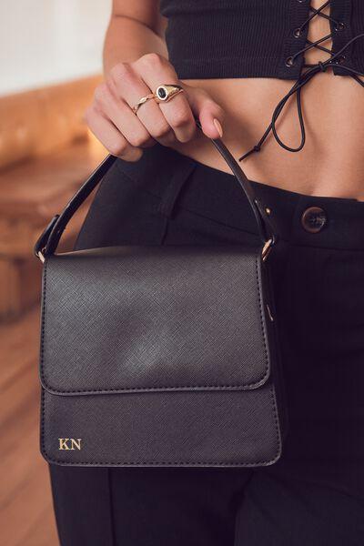 Personalised Beth Cross Body Bag, BLACK TEXTURE