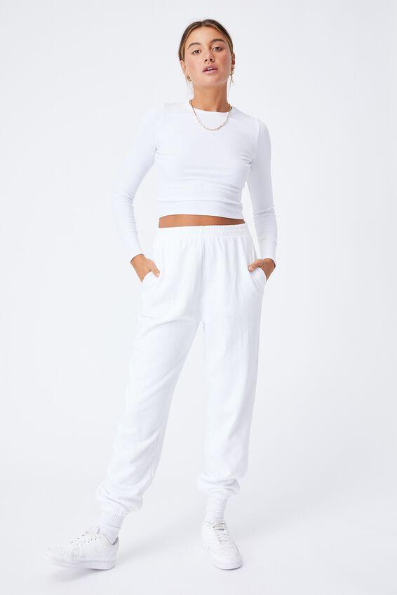 Cassidy High Waist Track Pant, WHITE