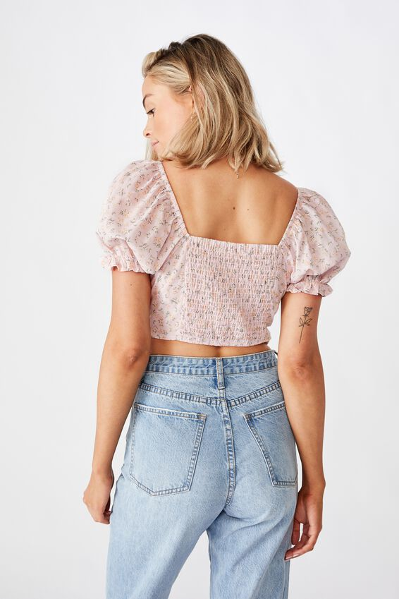 Rhea Puff Sleeve Bustier Top, DAPHNE FLORAL PINK