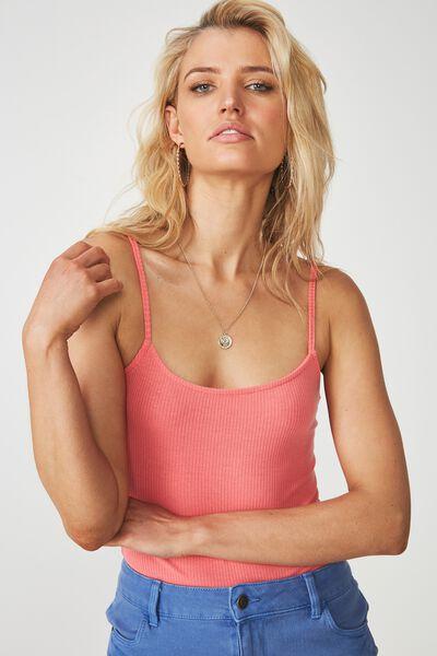 Jaimie Thin Strap Bodysuit, SUNKIST CORAL