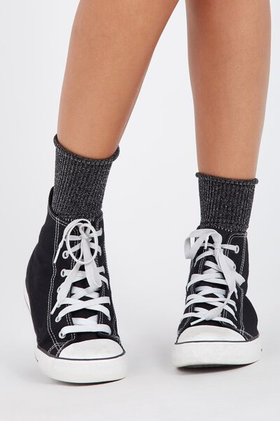 Sparkly Rib Socks, BLACK/SILVER