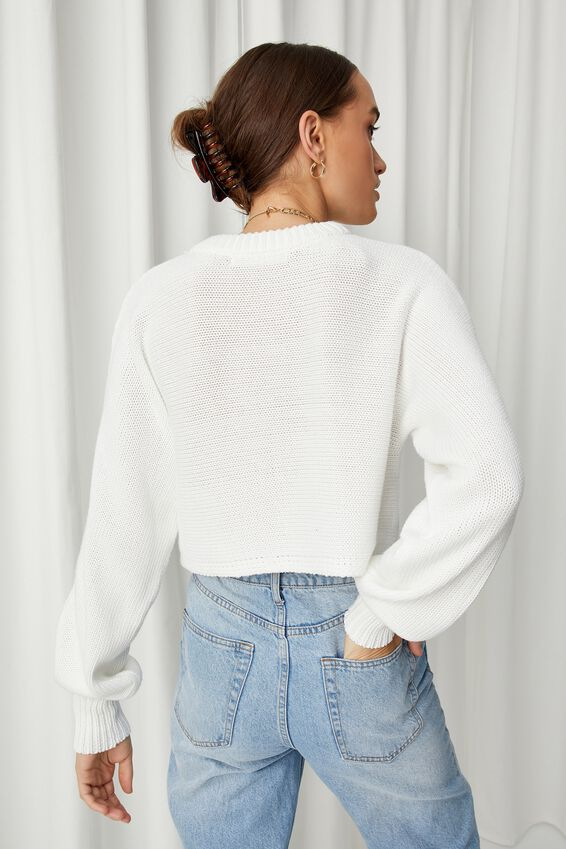 Sophia Crew Neck Knit, WHITE