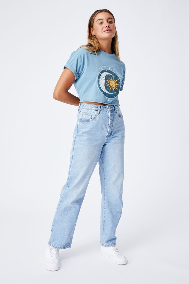 Tamara Printed Crop T Shirt, FADED BLUE JADE/SUN MOON
