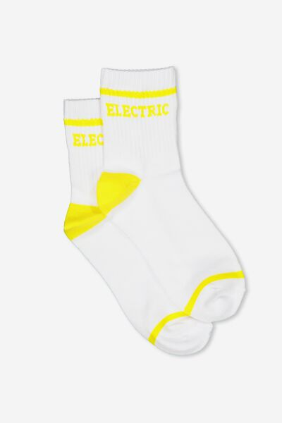 90S Slogan Crew Socks, ELECTRIC