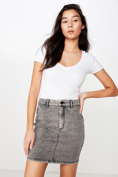 Chloe Stretch Denim Mini Skirt, BLACK ACID WASH