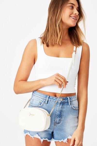 Personalised Josie Cross Body Bag, WHITE PEBBLE