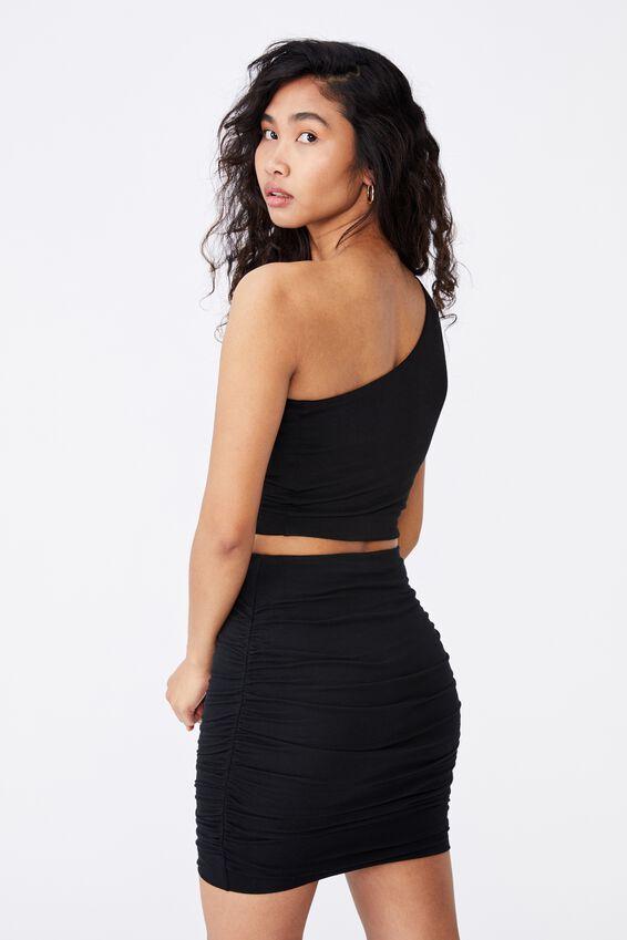 Belle Gathered Mini Skirt Co Ord, BLACK