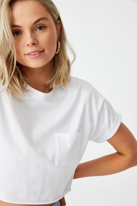 Ciara Crop T Shirt, WHITE