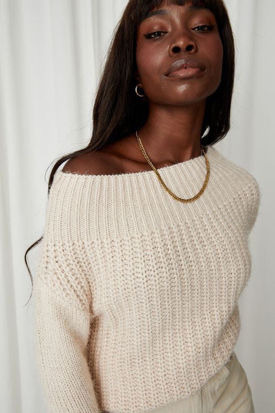 Layla Off Shoulder Knit, COOKIES AND CREAM