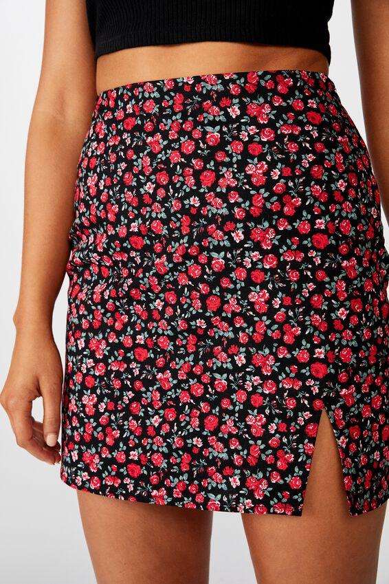 Della Split Mini Skirt, ROSE GARDEN FLORAL