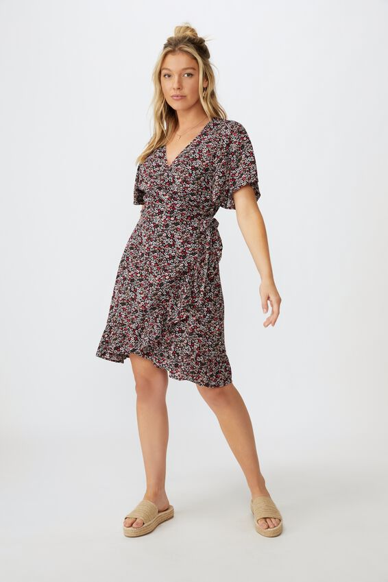 Emily Wrap Dress, PEONIES IN PARIS BLACK