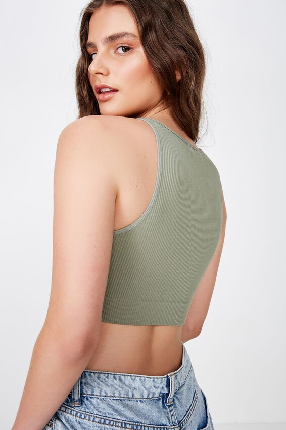 Seamfree High Neck Tank, FERN KHAKI
