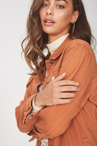 Vintage Boyfriend Denim Jacket, TOFFEE