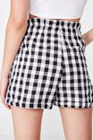 Lottie Linen Paperbag Waist Short, GINGHAM B&W