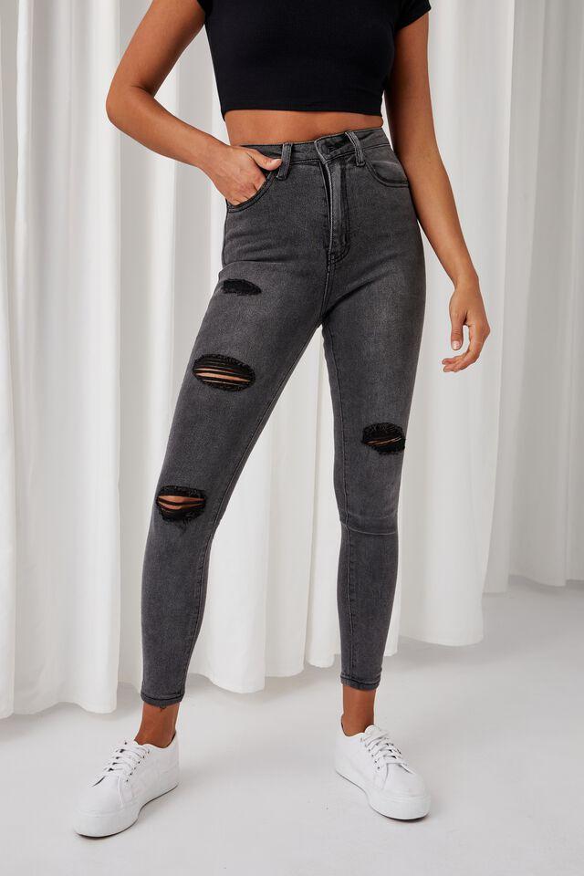 Skinny Premium High Rise Ripped Jean, BLACK SMOKE