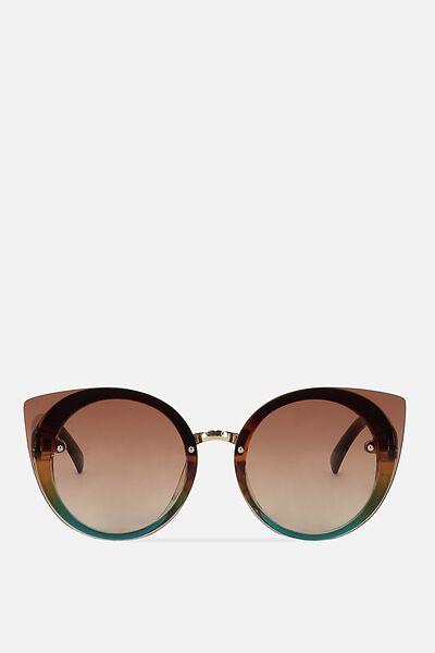 Lana Round Catty Sunglasses, GRAD BROWN