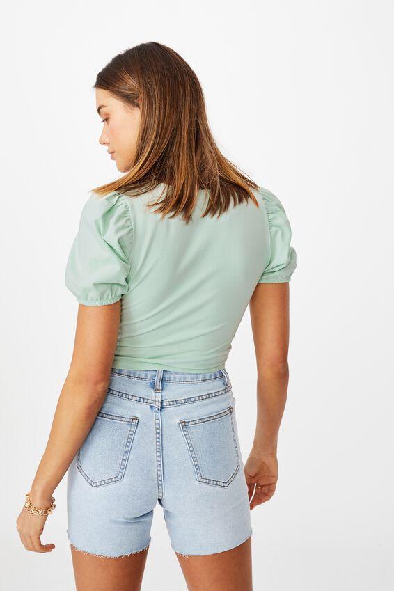 Elle Puff Sleeve Top, MINTY GREEN