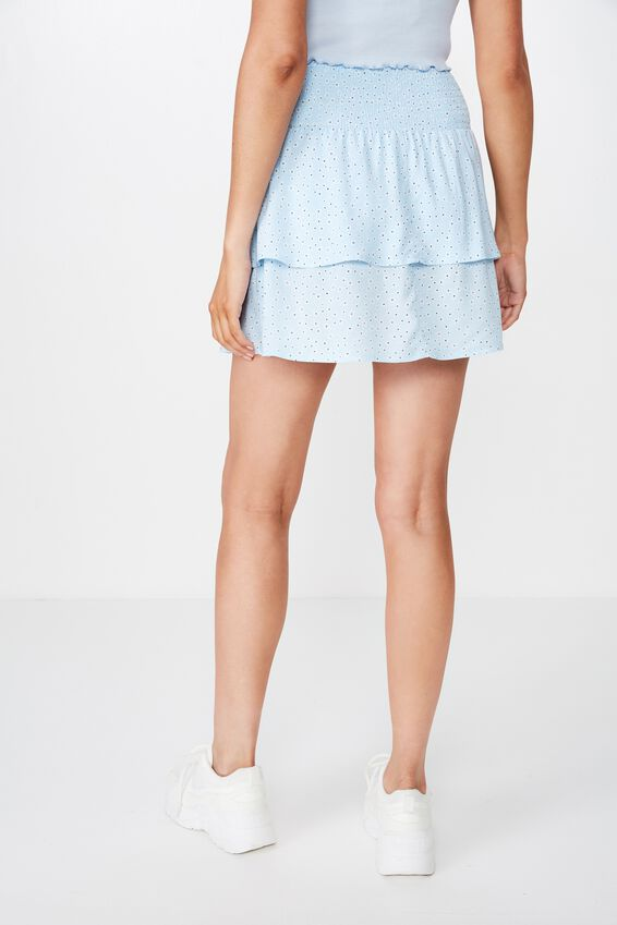 Poppy Shirred Waist Tiered Skirt, WENDY BLUE FLORAL