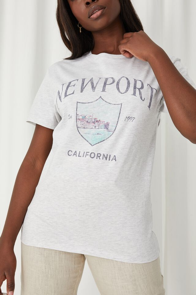Lola Printed Longline T Shirt, LIGHT GREY MARLE/NEWPORT TOURIST
